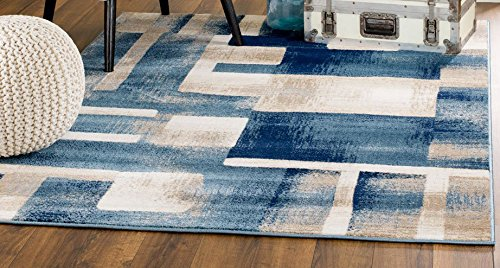 MADISON COLLECTION 404 Modern Abstract Blue Area Rug Clearance Soft and Durable Pile. Size Option , 7 .4 x 10 .6