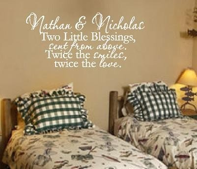 Amazoncom Twin Wall Decal Quote Saying Poem Phrase Brothers Or