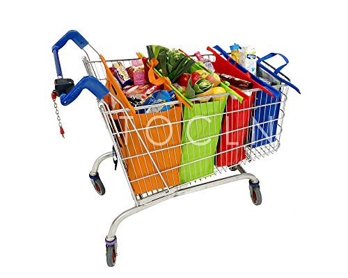 TOCLN: Reusable Shopping Cart Trolley Bags Set of 4, with Velcro, Detachable, Pep board on the Bottom for Sturdiness-NO Sagging,Insulated Frozen/Hot Foods Bag, Suitable For USA and Canada.Heavy Duty