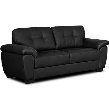 Simply StylisH Sofas Bradwell Negro sofá de Piel Gama 3 y 2 ...