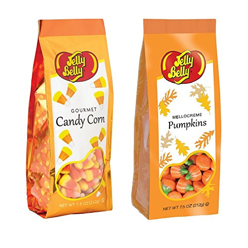 Jelly Belly Candy Corn & Mellocreme Pumpkins 7.5 Oz Combo Set Gluten Free Kosher (Pumpkin Candy Corn Gift)