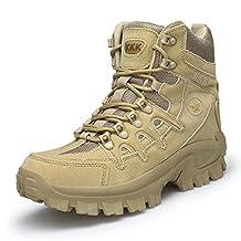 TQGOLD Hiking Trekking Boots High-Top Outdoor Sneakers For Men Waterproof Antiskid Leather Lightweight