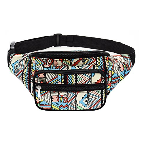 5311fea83 Kayhoma Boho Fanny Pack Geometric Shape Festival Bum Bags Travel Hiking Belt  Purse