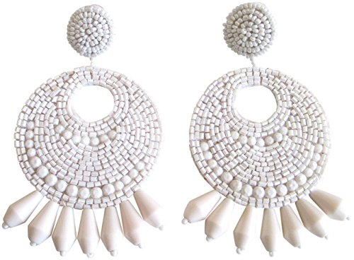 Kenneth Jay Lane White Gypsy Beaded Drop Pierced Earrings ()