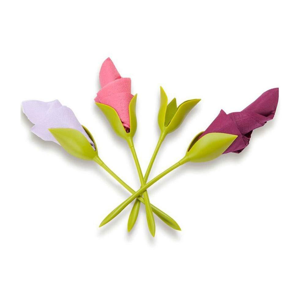 Set of 8 Green Stemmed Plastic Twist Flower Buds Serviette Holders Plus White Napkins for Making Original Table Arrangements Napkin Holders for Tables