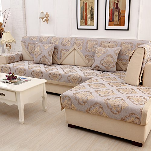 Wayward Anti-Slip Sofa slipcovers,Stripe Chenille Sofa Covers,Furniture Protector European Dust-Proof Couch Covers Luxury Sofa Cushioning Stain-Resistant Dust Cover-E 70x180cm(28x71inch)
