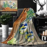 Unique Custom Double Sides Print Flannel Blankets Low Relief Cement Thai Style Handcraft Of Fish Super Soft Blanketry for Bed Couch, Throw Blanket 60 x 40 Inches