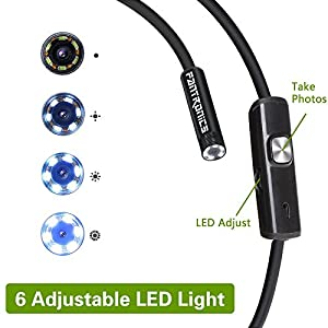 Fantronics 3.5M Rigid Cable Android Endoscope Borescope,Waterproof OTG Micro USB Inspection Camera with 6 Adjustable LEDs