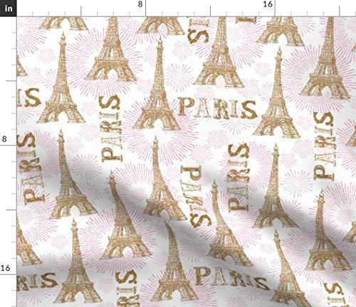 (Paris Eiffel Tower Fabric - Pink Paris Eiffel Tower Pink Paris Eiffel Tower Glitter Christmas France Travel Print on Fabric by The Yard - Sport Lycra for Swimwear Performance Leggings Apparel Fashion)