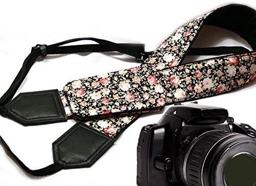 Flower Camera Strap Code 00228 Durable Light Weight and Well Padded Camera Strap Beige Roses Camera Strap with Cap Pocket Black DSLR//SLR Camera Strap