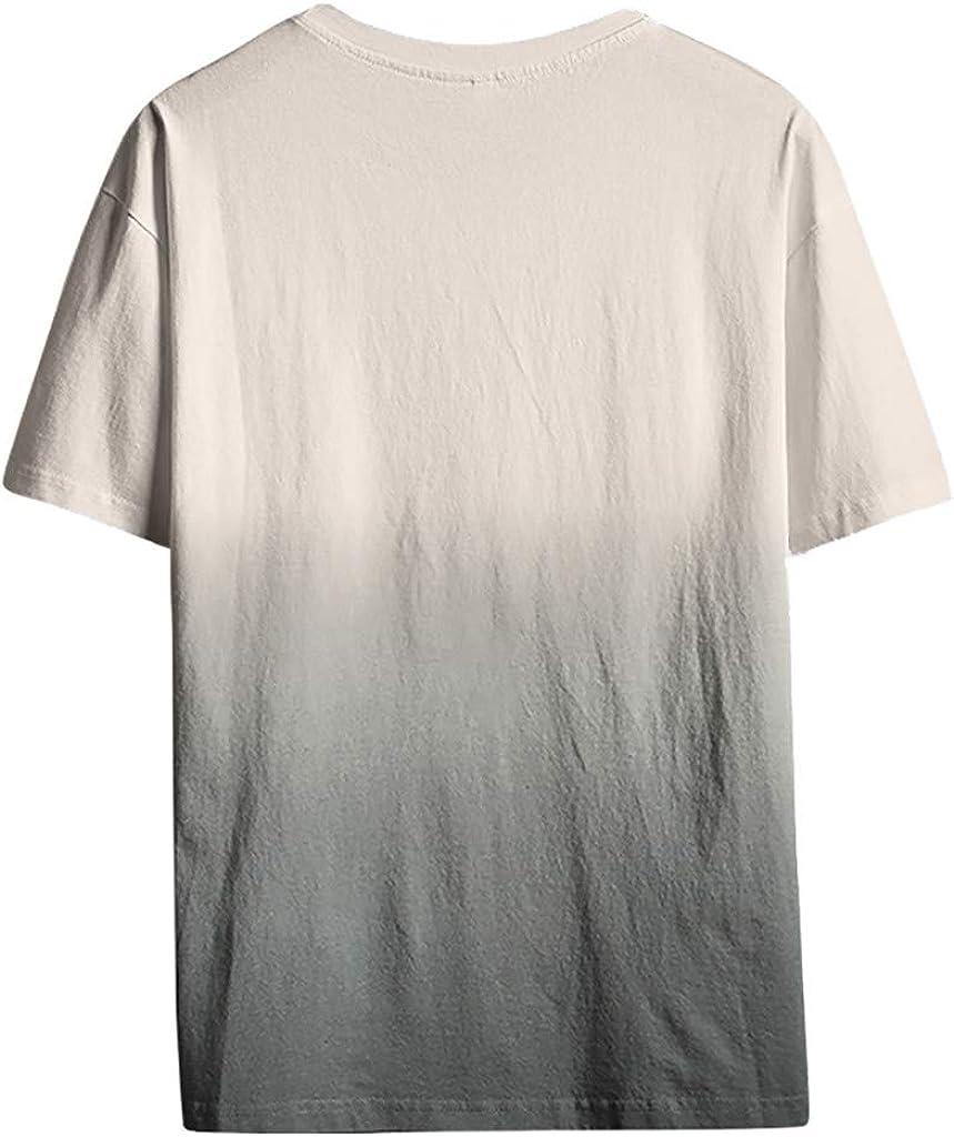 TUDUZ Camisetas Hombre Manga Corta Color Sólido de Algodón y Lino Camisas Moda Transpirable Gradiente: Amazon.es: Ropa y accesorios