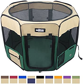 Multiple Sizes and Colors Available for Dogs EliteField 2-Door Soft Pet Playpen 30 x 30 x 20H, Beige+Green Cats and Other Pets Exercise Pen