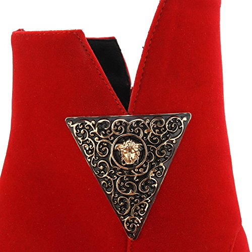 AllhqFashion Mujeres Tacón ancho Sólido Cremallera Puntera Redonda Botas con Metal Rojo
