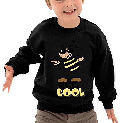 Price comparison product image Puppylol Bee Cool Kids Classic Crew-neck Pullover Hoodie Black 2 Toddler