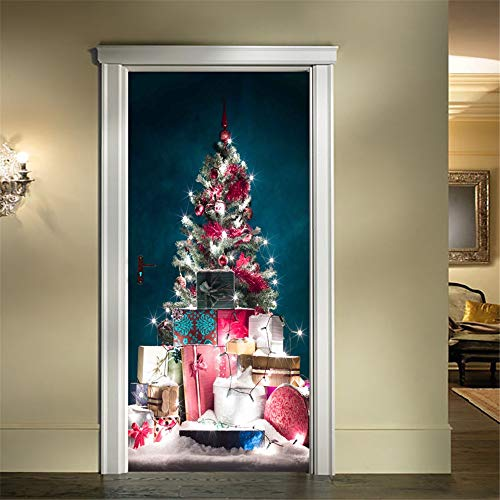 Christmas Window Clings Decal Wall Stickers - Restroom Door Cover Party Accessory Christmas New Door Sticker Christmas Tree Glass Window Sticker.