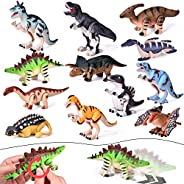 FUN LITTLE TOYS 12 Pieces Assorted Wind Up Dinosaur Toys for Kids Party Favors, Mini Toy Dinosaur Figures for