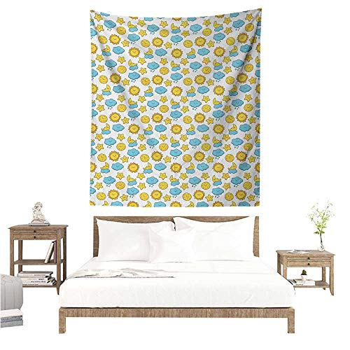Baby Wall Tapestry for Bedroom Sleepy Morning and Night for Kids Boys Girls Moon Rainy Clouds Stars Sun Home Decorations for Bedroom Dorm Decor 70W x 84L INCH Earth Yellow Sky Blue