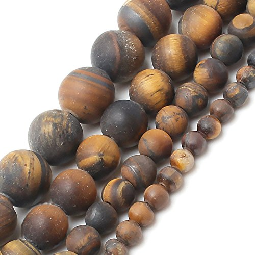 Dull Unpolished Tiger Eye Stone Beads 10 mm Round Loose Jewelry Making