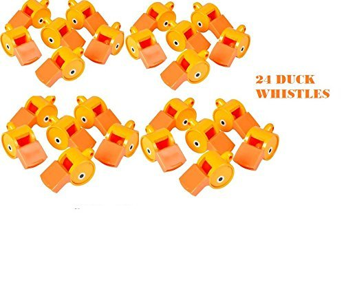 24 DUCK Whistles ~ 2 Dozen Fun noise making Whistles ~ Carnival ~ Party Birthday Favors ~ Prize Fairs/ Parties /Sports Team/ Gifts Loot Bags/ -