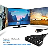 HDMI Splitter/ Switch, 3 Port with 1080P Fixed 3FT Pigtail Cable Supports 3D, HD Audio - [DAGO-Mart Quality Guarantee]