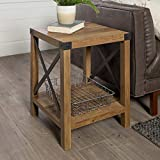 WE Furniture Rustic Modern Farmhouse Square Side End Accent Table Living Room, 18 Inch, Brown Reclaimed Barnwood