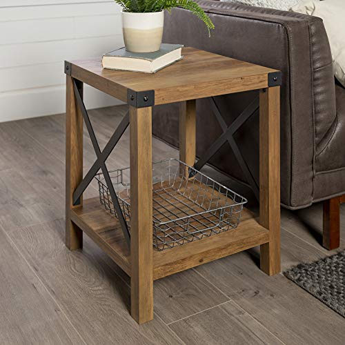 Walker Edison Rustic Modern Farmhouse Metal and Wood Square Side Accent Living Room Small End Table, 18 Inch, Reclaimed Barnwood