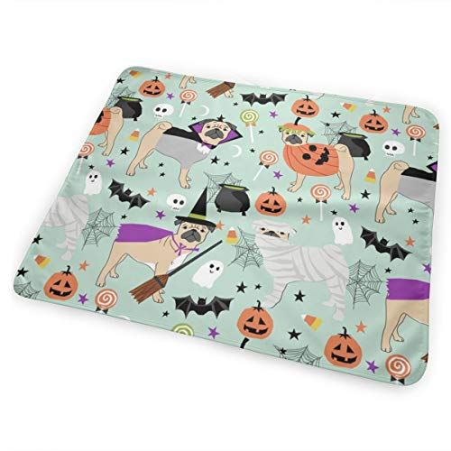 Pug Halloween Costume - Cute Dogs in Costumes - Mint Baby Portable Reusable Changing Pad Mat 31.5x21.5 inches