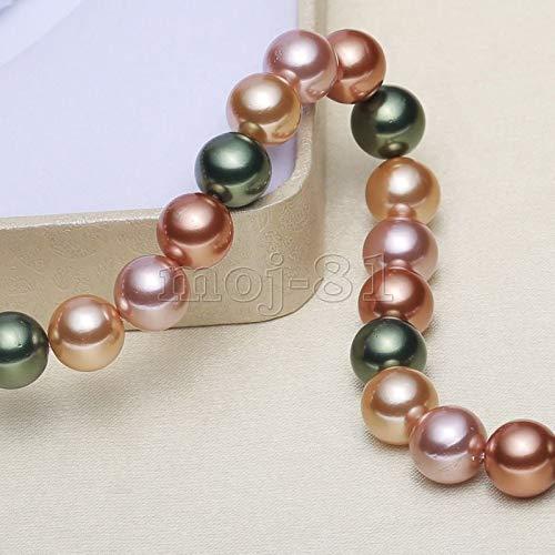 FidgetFidget 8mm 10mm 12mm Genuine Multicolor South Sea Shell Pearl Round Loose Beads 15