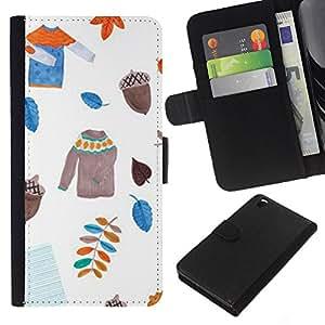 KLONGSHOP // Tirón de la caja Cartera de cuero con ranuras para tarjetas - Dejadores suéter blanco Acorn - HTC DESIRE 816 //