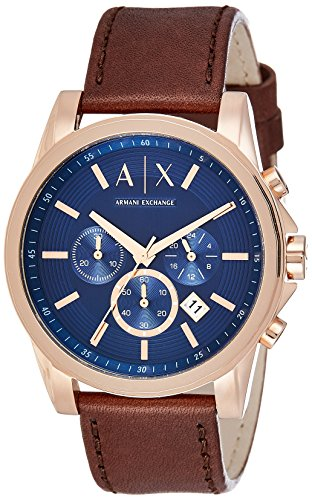 Mens Designer Watch (Armani Exchange Men's AX2508 Brown  Leather Watch)
