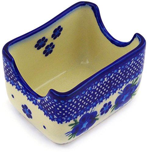 Polish Pottery Sugar Packet Holder 3-inch Bleu-belle Fleur ()