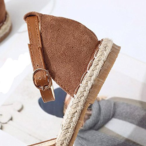 Women Ankle Flat Strap Shoes Casual Vintage HLHN Lady Buckle Sandals Khaki Roman Straw Heel Espadrilles tqWWwdY