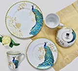 222 Fifth Peacock Garden 16 Piece Porcelain Dinnerware Set with Round Plates: Service for 4, White