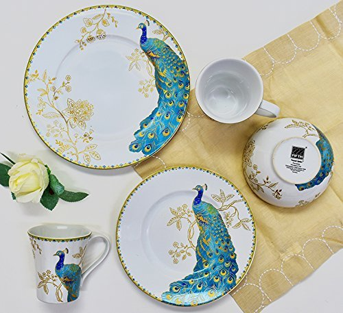 (222 Fifth Peacock Garden 16 Piece Porcelain Dinnerware Set with Round Plates: Service for 4, White)