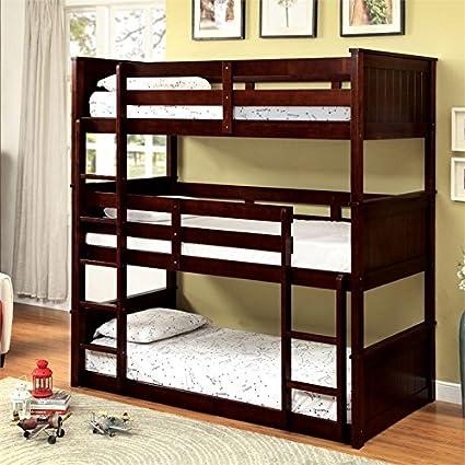 Amazoncom Furniture Of America Dorian Twin Triple Decker Bunk Bed