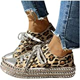 Dainzuy Women's Leopard Low Top Canvas Sneaker Platfrom Rhinestone Shiny Lace up Round Toe Flat Walking Shoes