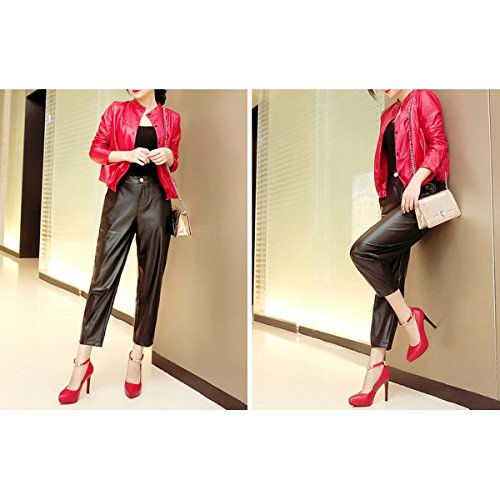 Sexy 11CM Mariage Pointu Leather Red Pompes Smart Womens Strap High Toe Classique Lady Parti De Chaussures Heels wXfE7