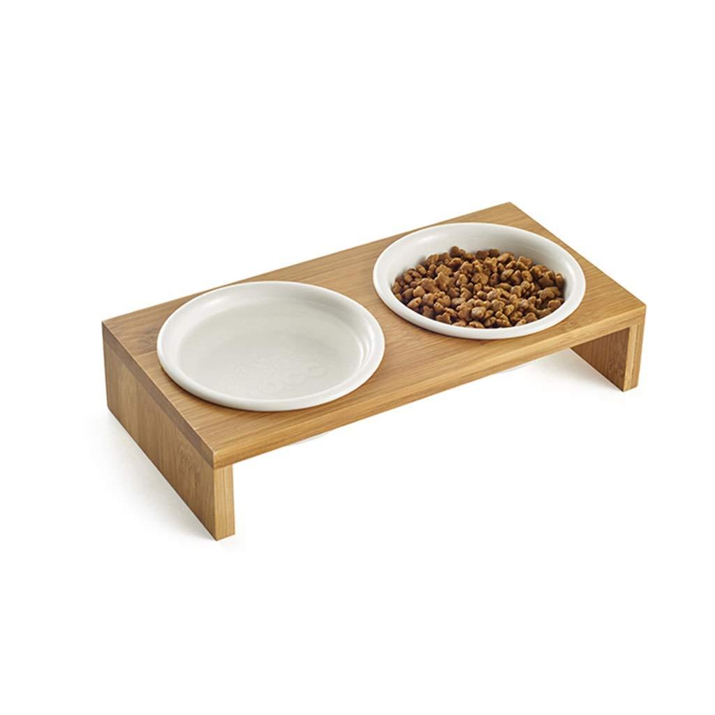 M DSADDSD Pet Bowl Ceramics Double Bowl Wooden Dish Rack Cat Dog Bowl Pet Supplies (Size   M)