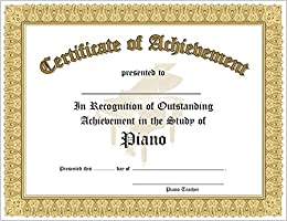Certificate of outstanding achievement in the study of piano 10 certificate of outstanding achievement in the study of piano 10 awards per package yadclub Choice Image