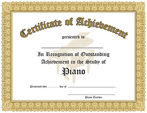Certificate Of Outstanding Achievement In The Study Of Piano