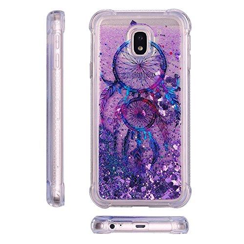 Funda para Samsung Galaxy J7 2017 Brillante, RosyHeart Ultra-fina Suave Transparente Carcasa con Glitter Bling Líquido Quicksand, Crystal Silicona Diseño creativo Protectora Cover Bumper [Mejorada Pro Atrapasueños Púrpura