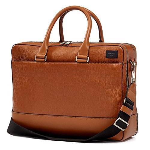 Jack Spade Pebble Leather Overnight Briefcase Travel Bag, Fits 15'' Laptop, Tan by Jack Spade