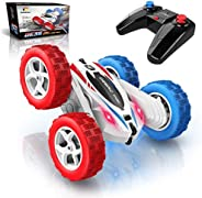 DEERC DE35 RC Stunt Cars Remote Control Car Toys, 4WD Off Road, Dual Color Headlights, Double Sided Rotating,4