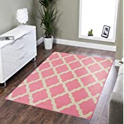 Ottomanson Glamour Collection Contemporary Moroccan Trellis Design Kids Rug (Non-Slip) Kitchen and Bathroom Mat Rug, 3'3 X 5'0, Pink