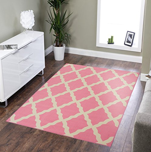 (Glamour Collection Pink Contemporary Moroccan Trellis Design Kids Rug (5'0