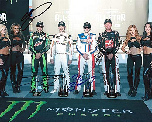4X AUTOGRAPHED Chase Elliott/Ryan Blaney/Daniel Suarez/Clint Bowyer 2017 Monster Energy Cup CHARLOTTE ALL-STAR RACE Signed Picture NASCAR 8X10 Inch Photo with ()