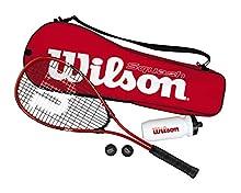 Wilson Starter Kit Set de Squash Incluye 1 Raqueta Impact Pro 300, 2 Pelotas, 1 Botella de Agua y 1 Bolsa, Unisex, Rojo/Negro, Talla Única