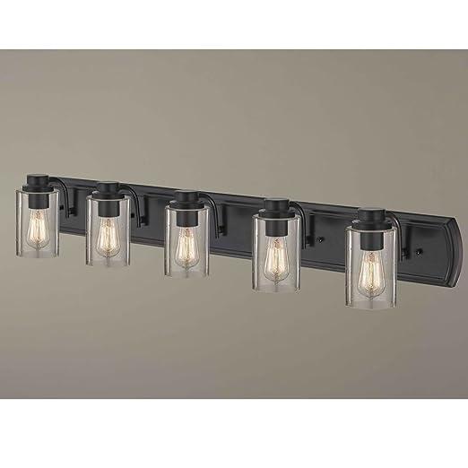 Amazon.com: Industrial vidrio baño lámpara de pared bronce 5 ...