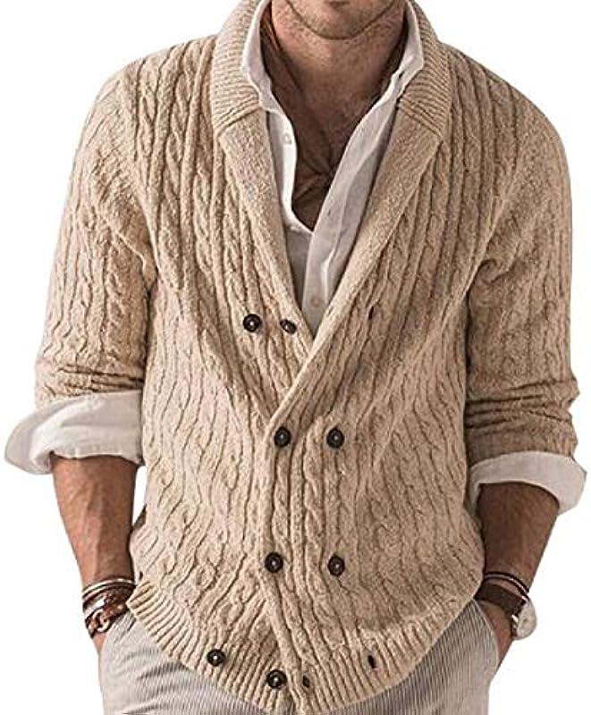 GRMO Men Winter Sweater Long Sleeve Double-Breasted Knitted Cardigan Coat Outwear: Odzież