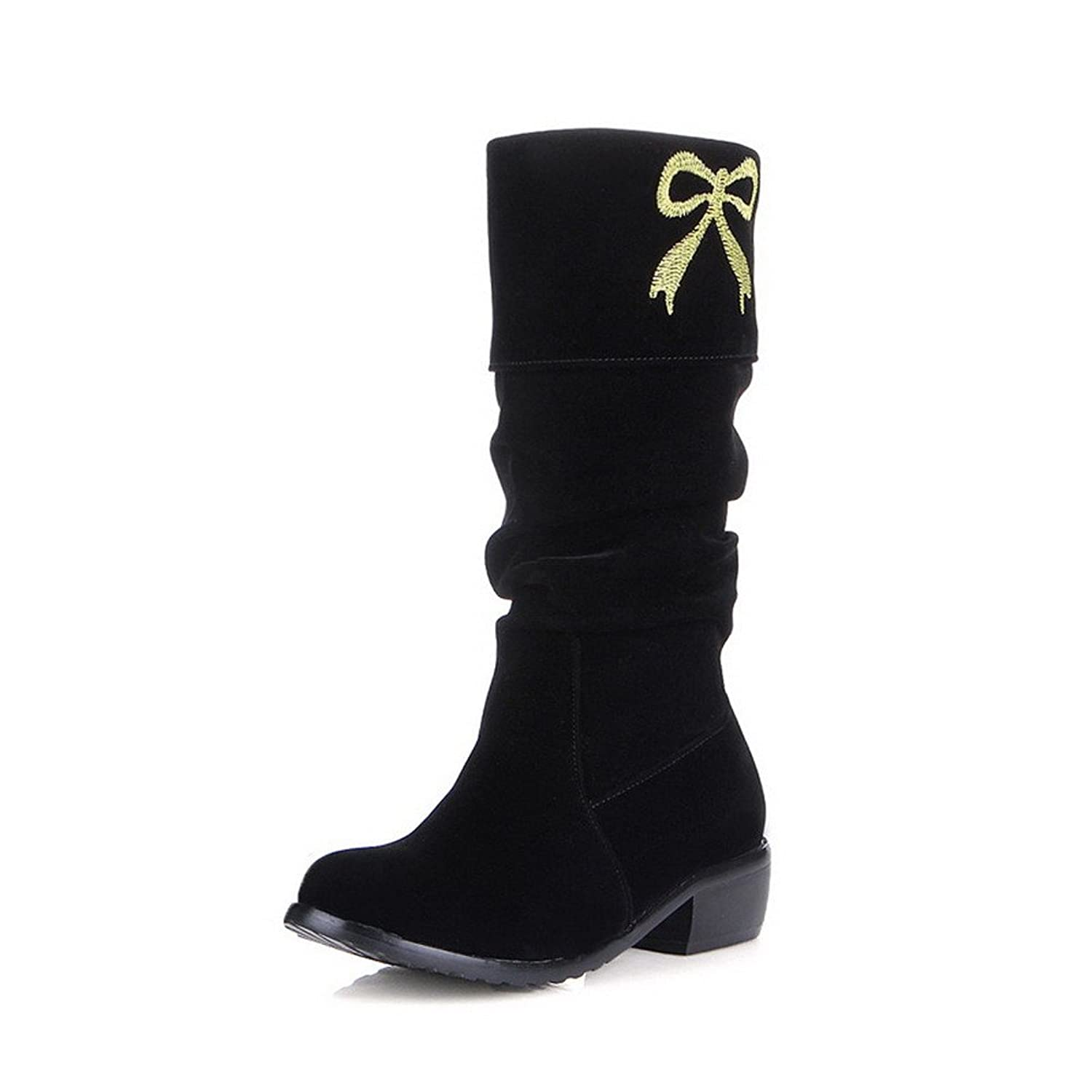 AllhqFashion Women's Pull-On Low-Heels Imitated Suede Solid Mid-Top Boots